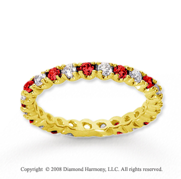 3/4  Carat Ruby and Diamond 18k Yellow Gold Eternity Band