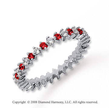 3/5  Carat Ruby and Diamond Platinum Eternity Band