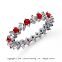 1 1/2 Carat Ruby and Diamond Platinum Eternity Band