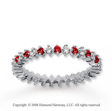 3/5  Carat Ruby and Diamond 14k White Gold Eternity Band