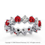 4  Carat Ruby and Diamond 14k White Gold Eternity Band