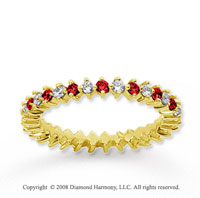 3/5  Carat Ruby and Diamond 14k Yellow Gold Eternity Band