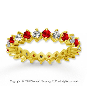 1 1/2 Carat Ruby and Diamond 14k Yellow Gold Eternity Band