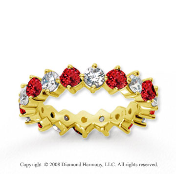 2 1/2 Carat Ruby and Diamond 14k Yellow Gold Eternity Band