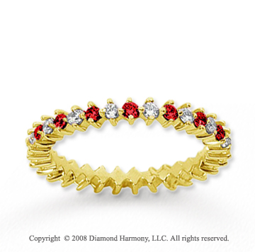 3/5  Carat Ruby and Diamond 18k Yellow Gold Eternity Band