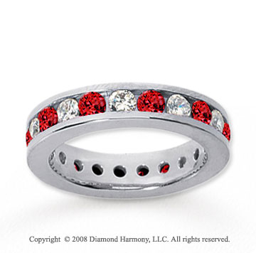 1 1/2 Carat Ruby and Diamond 14k White Gold Eternity Band