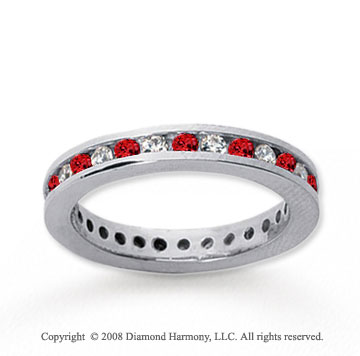 3/4  Carat Ruby and Diamond 18k White Gold Eternity Band