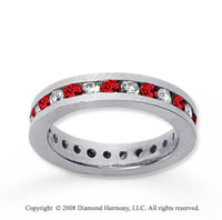 1  Carat Ruby and Diamond 18k White Gold Eternity Band