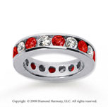 2 1/2 Carat Ruby and Diamond 18k White Gold Eternity Band