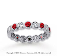 1  Carat Ruby and Diamond 14k White Gold Eternity Band