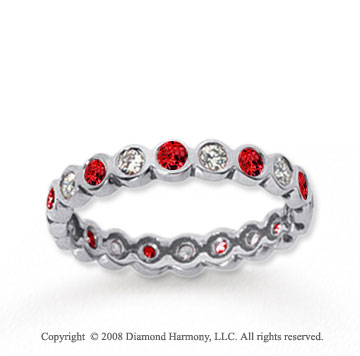1/2  Carat Ruby and Diamond 18k White Gold Eternity Band