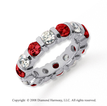 4  Carat Ruby and Diamond Platinum Eternity Band
