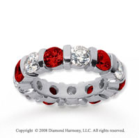 5  Carat Ruby and Diamond 18k White Gold Eternity Band