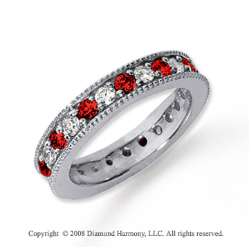 1 1/4 Carat Ruby and Diamond Platinum Eternity Band