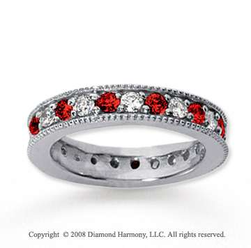 1 1/4 Carat Ruby and Diamond 18k White Gold Eternity Band