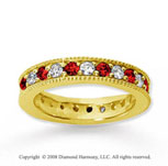 1 1/4 Carat Ruby and Diamond 14k Yellow Gold Eternity Band