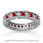 1 1/4 Carat Ruby and Diamond 14k White Gold Eternity Band