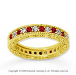 1  Carat Ruby and Diamond 18k Yellow Gold Eternity Band