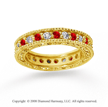 1 1/4 Carat Ruby and Diamond 18k Yellow Gold Eternity Band