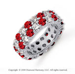 5 1/2 Carat Ruby and Diamond Platinum Eternity Band