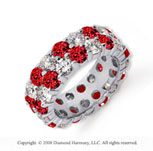 6 1/2 Carat Ruby and Diamond Platinum Eternity Band