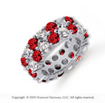 8 1/2 Carat Ruby and Diamond Platinum Eternity Band