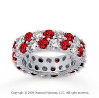 5 1/2 Carat Ruby and Diamond 18k White Gold Eternity Band