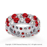 6 1/2 Carat Ruby and Diamond 18k White Gold Eternity Band
