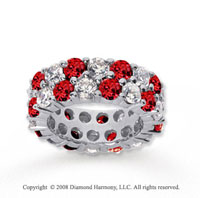 8 1/2 Carat Ruby and Diamond 18k White Gold Eternity Band