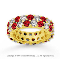 3 1/2 Carat Ruby and Diamond 14k Yellow Gold Eternity Band