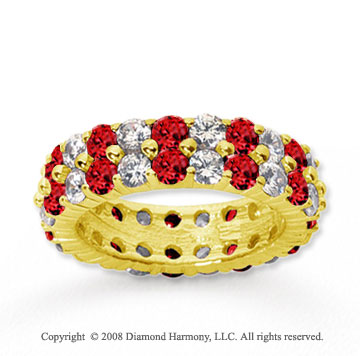 4 1/2 Carat Ruby and Diamond 14k Yellow Gold Eternity Band