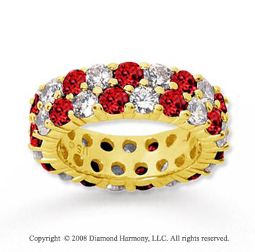 5 1/2 Carat Ruby and Diamond 14k Yellow Gold Eternity Band