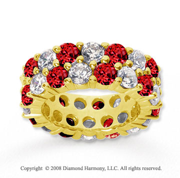 8 1/2 Carat Ruby and Diamond 14k Yellow Gold Eternity Band