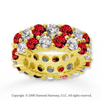 8 1/2 Carat Ruby and Diamond 18k Yellow Gold Eternity Band
