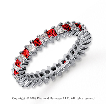 2  Carat Ruby and Diamond Platinum Eternity Band