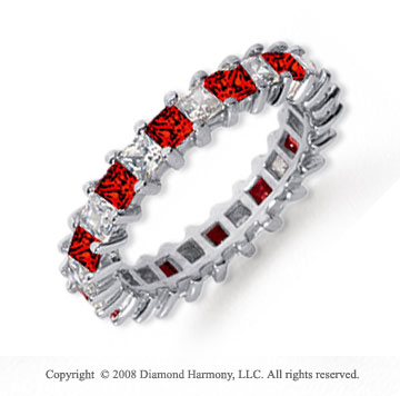 2 1/2 Carat Ruby and Diamond Platinum Eternity Band