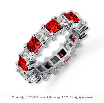 4 3/4 Carat Ruby and Diamond Platinum Eternity Band