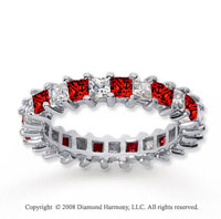 2 1/2 Carat Ruby and Diamond 14k White Gold Eternity Band
