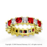 4 3/4 Carat Ruby and Diamond 14k Yellow Gold Eternity Band
