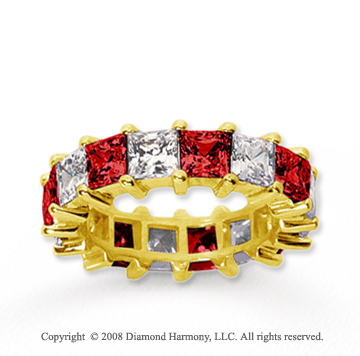 6 1/2 Carat Ruby and Diamond 14k Yellow Gold Eternity Band