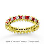 1 1/2  Carat Ruby and Diamond 18k Yellow Gold Eternity Band