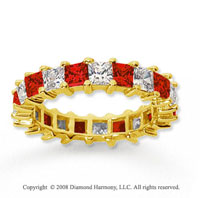 3 1/2 Carat Ruby and Diamond 18k Yellow Gold Eternity Band