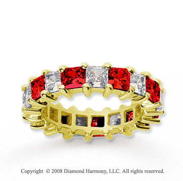 4 3/4 Carat Ruby and Diamond 18k Yellow Gold Eternity Band