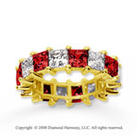 6 1/2 Carat Ruby and Diamond 18k Yellow Gold Eternity Band