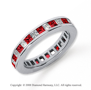 3/4  Carat Ruby and Diamond Platinum Eternity Band