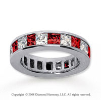 4 3/4 Carat Ruby and Diamond 18k White Gold Eternity Band