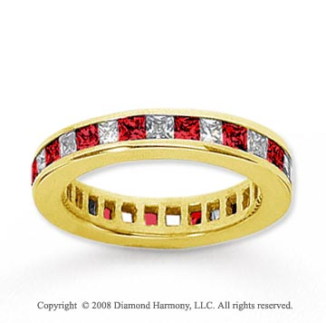 3/4  Carat Ruby and Diamond 14k Yellow Gold Eternity Band