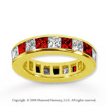 4 Carat Ruby and Diamond 14k Yellow Gold Eternity Band