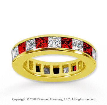 4 Carat Ruby and Diamond 18k Yellow Gold Eternity Band