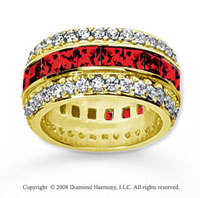 5 Carat Ruby and Diamond 14k Yellow Gold Eternity Band
